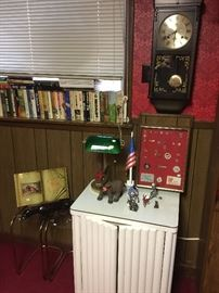 Matching side table for desk.  More Democratic items, wall clock