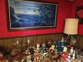 Original painting by client, lots of cool decorator items.