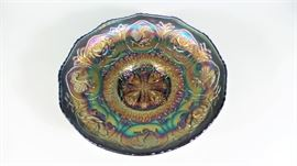 LOT 9 FENTON CARNIVAL GLASS DRAGON + LOTUS SCALLOPED EDGE BOWL