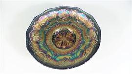 LOT 9 FENTON CARNIVAL GLASS DRAGON + LOTUS SCALLOPED EDGE BOWL
