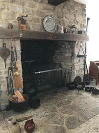 Cast iron pots and wrought iron tools
