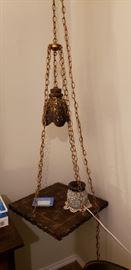 amazing vintage hanging bedside table slate