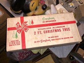 Vintage 2 foot stainless aluminum Christmas tree