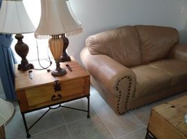 Knotty pine side tables - lamps - leather love seat