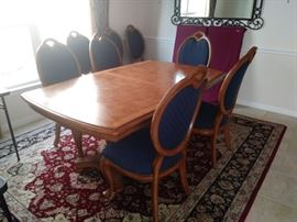 Dining table with 2 leaves and 6 chairs (2 arm chairs and 4 side chairs)