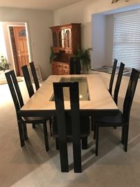 CONTEMPORARY ITALIAN  LACQUER DINING TABLE W/ V BASE CENTER AND EXTENSIONS/ PURCHASED AT CANTONI IN HOUSTON I/ 96