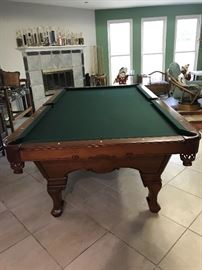 OLHAUSEN LAFAYETTE BILLARDS/POOL 8'TABLE W/ LEATHER POCKETS, COVER, PADS AND ACCESSORIES