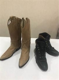 2 Pairs of Leather Cowgirl Boots