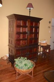Armoire, Stacking Tables and Plant in Basket