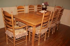 Country /Farm Dining Table with 8 Chairs