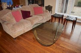 Sofa, Mid-Century Wood & Glass Kidney Shaped Coffee Table, Pair of Side Tables and Accent Pillows