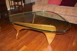 Mid-Century Wood & Glass Kidney Shaped Coffee Table