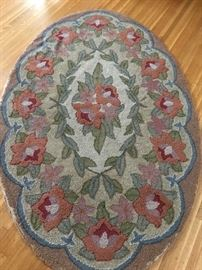 Vintage oval hooked rug.  From the estate of F. RItter Shumway who received it from the estate of Oliver Wendell Holmes.