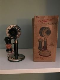 """Red String"" toy dial telephone with original box."