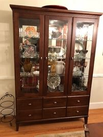 Ethan Allen 2-pc. China Cabinet in great condition with lights 78 inches tall 53 inches long and 15 deep . Asking $350