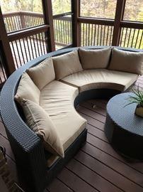 Circular sectional outdoor furniture.