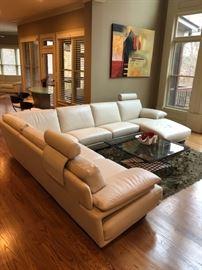Natuzzi Italian leather sectional sofa