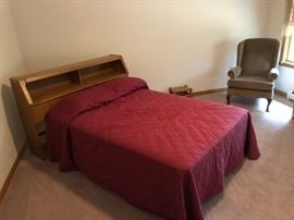 Double bed with maple shelf headboard & Upholstered chair