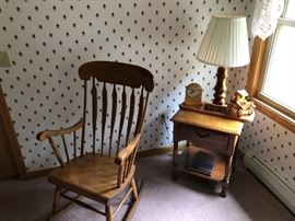 Rocking chair with side table and lamp