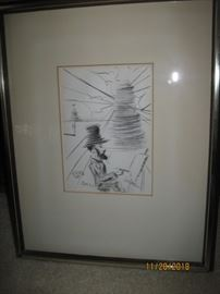Dali Print of Toulouse Lautrec Framed