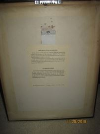 Back of Framed Dali print of Don Quixote