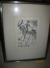 Framed Dali Print of Don Quixote