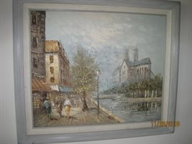 Framed Painting of European Street Scene