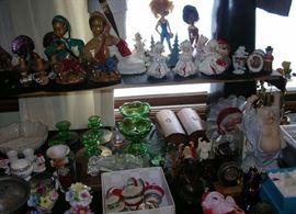 Vintage Christmas figurines, ornaments, etc., other fun vintage figurines, buddhas
