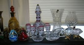 Bohemian cased glass decanter set, some Waterford crystal pieces.