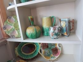 Majolica Pineapple Decanter and Pitcher, Large Platters Pitchers