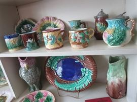 Majolica Mugs and Syrup Pitcher Large Fern Platter