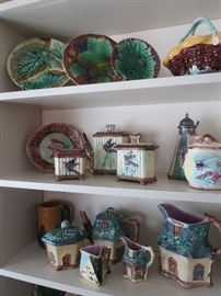 Very Rare Cottage Majolica Pieces, Majolica Syrup Pitcher, Tea Pot and Sugar and Creamer in Bamboo and Bird, Begonia Leaf Plates