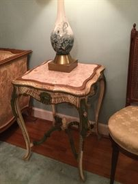 HAND PAINTED TABLE (PAIR) AND COFFEE TABLE WITH MARBLE INSERTS
