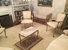SET OF FOUR MADE IN ITALY FAUTEUIL CHAIRS WITH MATCHING LOVESEAT ALL WITH GOLD DISTRESSED PAINT