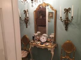 HALL MIRROR AND HAND PAINTED TABLE