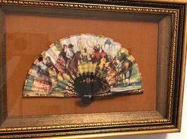 Antique hand painted fan
