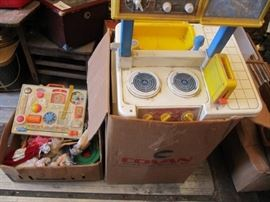 2 boxes of girls toys some Fisher Price and vintag ...