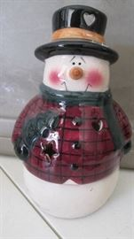 7 Ceramic Snowman with candle in base