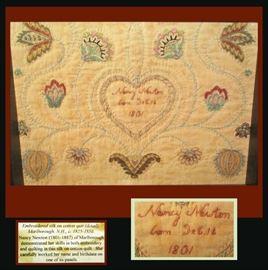 Framed Embroidered Silk on Cotton Quilt, Marlborough N.H. c.1825-1850 by Nancy Newton born 1801