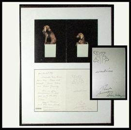 Signed William Wegman Weimaraner Photo with Personal Note and Photo of 2 Weimaraners. Actual Signature is Bill Weg