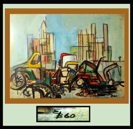 Very Cool Mid Century Modern Erik Behrentz Signed Watercolor Dated 1960; When Erik first began painting. Erik is from Gevninge Denmark. Actual art, without frame, measures 19 inches wide by 14 inches high