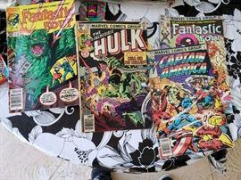 Marvel comics Hulk, Fantastic Four and Captain America