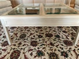 Square table with glass inserts - Thomasville