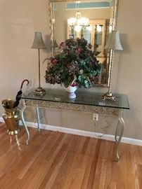 Metal sofa table w/ glass top