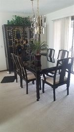 Thomasville Ebony Asian  Dining Table & Hutch