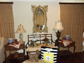 """Gold Mirror, Sheraton style Settee, Pr End Tables, """"Channel"""" Doggie Pillow"""