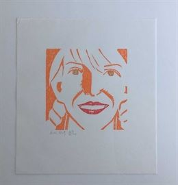 "Alex Katz, Color woodcut, ""Jessica"", 1994,  7"" x 7."" Signed and numbered 23/200 in pencil."