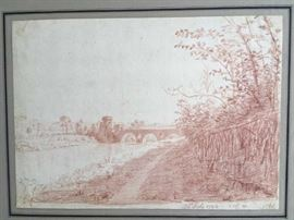"Red chalk on paper.  Circled Anchor with reverse ""B"" watermark. Annotated and dated ""July 26, 1792."" Annotations and initials illegible or unknown. 10.5"" x 8"" (See Jacob Wilhelm Mechau, 1792 etching Ponte Molle for similarity to this drawing and Mahlerisch-Radirte Prospecte von Italien for other similarities to this drawing)."