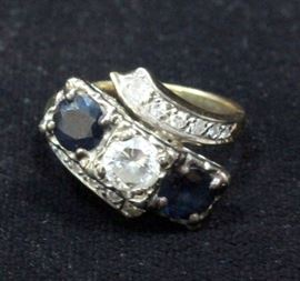 Estate Jewelry Diamond And Sapphire Cocktail Ring, Size 5.75, 14k White Gold, Center Stone Approx .5 Ct