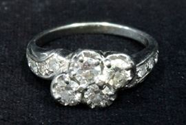 Circa 1910 14k White Gold With Four .25ct Diamond Center Stones And 8 Side Diamonds, Approx TCW 1.10, Size 7.5